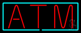 Red Atm With Light Blue Border Neon Sign