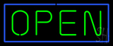 Open Horizontal Green Letters With Blue Border Neon Sign