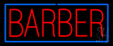 Red Block Barber With Blue Border Neon Sign