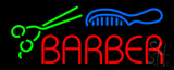 Red Barber With Comb And Scissor Neon Sign