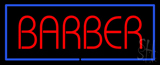 Red Barber With Blue Border Neon Sign