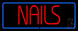 Red Nails Blue Border Neon Sign