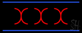 Red X X X Blue Lines Neon Sign