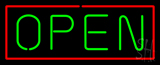 Open Horizontal Green Letters With Red Border Neon Sign