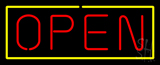 Open Yellow Border Red Letters Neon Sign