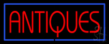 Red Antiques Blue Rectangle Neon Sign