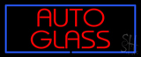 Red Auto Glass Blue Rectangle Neon Sign
