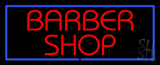 Red Barber Shop Blue Neon Sign