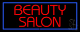 Red Beauty Salon With Blue Border Neon Sign