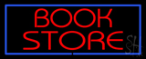 Red Book Store With Blue Border Neon Sign