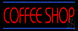 Red Coffee Shop Blue Lines Neon Sign