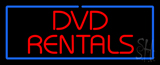 Red Dvd Rentals Blue Border Neon Sign