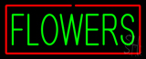 Green Flowers Red Border Neon Sign