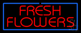 Red Fresh Flowers Blue Border Neon Sign