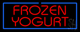 Red Frozen Yogurt With Blue Border Neon Sign