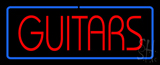 Guitars Block Blue Border Neon Sign