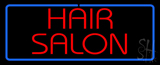 Red Hair Salon With Blue Border Neon Sign