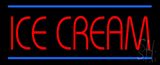 Red Ice Cream With Blue Lines Neon Sign
