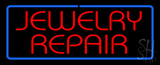 Jewelry Repair Rectangle Blue Neon Sign