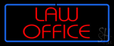 Red Law Office Blue Border Neon Sign