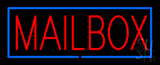 Mailbox Block Blue Border Neon Sign