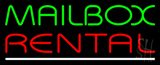 Mailbox Rental White Line Neon Sign