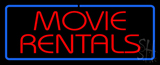 Red Movie Rentals Blue Border Neon Sign