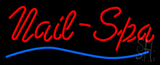 Red Nails Spa Blue Waves Neon Sign