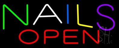 Multi Colored Nails Open Neon Sign