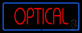 Red Optical Blue Border Neon Sign