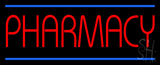 Red Pharmacy Blue Lines Neon Sign