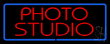 Red Photo Studio Blue Border Neon Sign