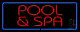 Red Pool And Spa Blue Border Neon Sign