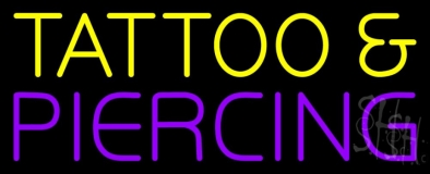 Yellow Tattoo And Purple Piercing Neon Sign