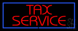 Red Tax Service Blue Border Neon Sign