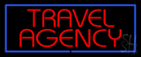 Red Travel Agency Blue Border Neon Sign