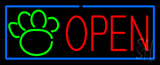Open Pet Paw Blue Border Neon Sign