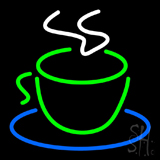 Green Coffee Cup Logo Neon Sign