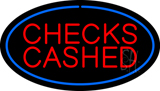 Oval Blue Checks Cashed Neon Sign