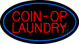 Coin Op Laundry Oval Blue Neon Sign