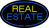 Real Estate Oval Blue Border Neon Sign