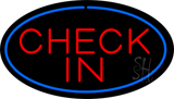 Check In Oval Blue Neon Sign