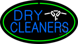 Blue Dry Cleaners Logo Oval Green Neon Sign
