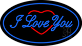 I Love You Logo Oval Blue Neon Sign