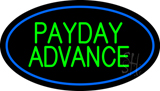 Green Payday Advance Oval Blue Border Neon Sign