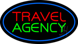 Travel Agency Blue Oval Neon Sign