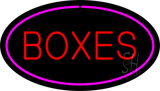 Boxes Oval Purple Neon Sign