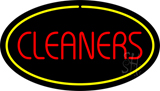 Red Cleaners Yellow Oval Border Neon Sign