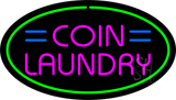 Pink Coin Laundry Oval Green Border Neon Sign
