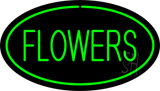 Oval Green Flowers Neon Sign